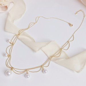 NEW 14K Gold Plated Layered Pearl Necklace
